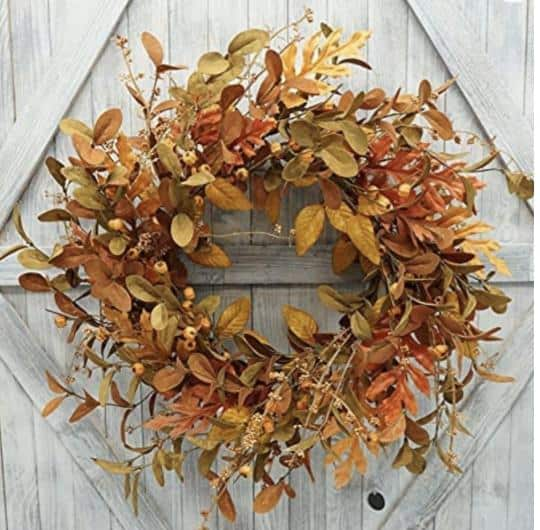 This image has an empty alt attribute; its file name is fall-leaves-autumn-wreath-french-country-farmhouse-chic-peacock-ridge-farm-1.jpg