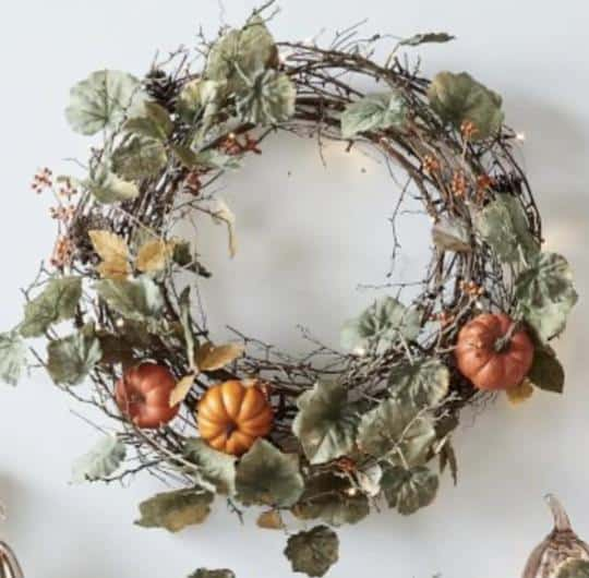 This image has an empty alt attribute; its file name is natural-grapevine-and-pumpkin-fall-leaves-autumn-wreath-french-country-farmhouse-chic-peacock-ridge-farm.jpg