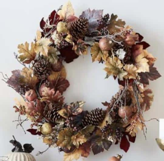 This image has an empty alt attribute; its file name is pomegranate-and-pinecone-fall-leaves-autumn-wreath-french-country-farmhouse-chic-peacock-ridge-farm.jpg